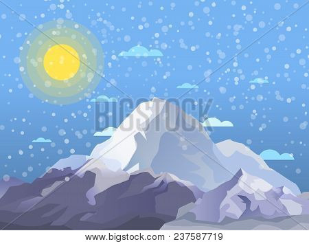 Mountaineering And Alpine Tourism Banner. Snowy Nature Landscape With Bright Sun And Ice Mountain Ra