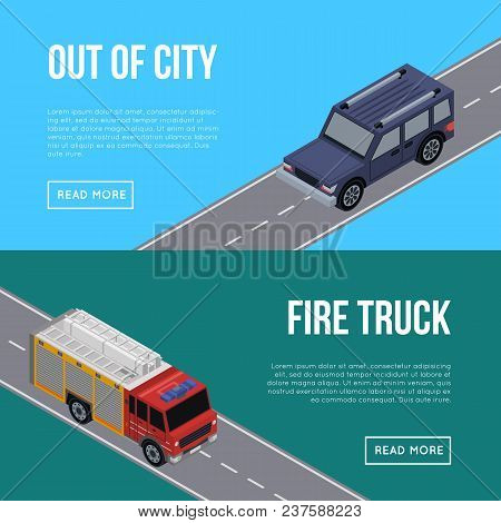 Out of city flyers with car and fire truck in highway. Urban transportation infrastructure, road safety concept. Crossing roads construction, isometric view of speedway with cars vector illustration. poster