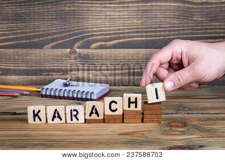 Karachi, A City In Pakistan Where Many Millions Of People Live. Background For Growing And Successfu