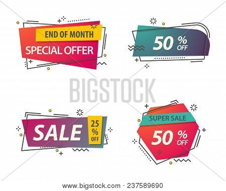 Badges Or Labels With Geometric Shapes For Retail, Linear Voucher For Sale Discount Or Promotion. St
