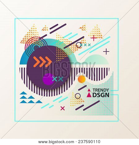 Geometric Design Cover With Dotted Backdrop, Concentric Circles And Arrows, Cross And Triangle In Sq