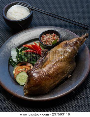 Crispy Tasty Delicious Roast Duck. Thanksgiving Or Christmas Dinner.