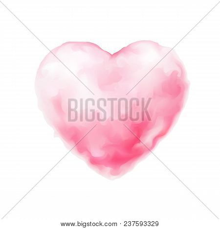 Vector Realistic Pink Sweet Cotton Candy Textured 3d Heart Icon. Happy Valentines, Women Day Symbol