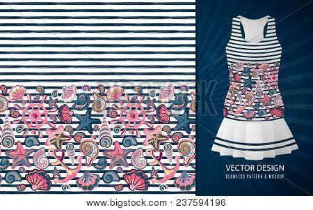 Vector Seamless Pattern Of Seashells And Marine Items On Striped Background. Hand Drawn Vintage Engr