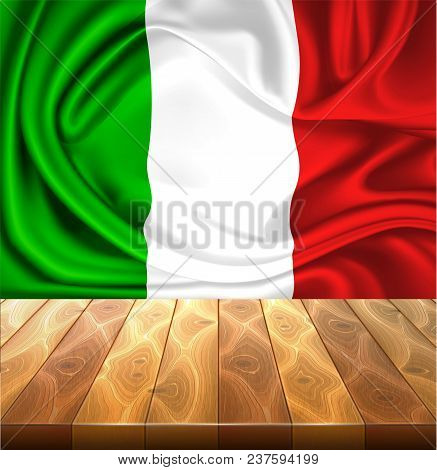 Realistic Silk Mexican Or Italian Flag On Wooden Flooring. Waving Mexico Italy State Symbol. Nationa