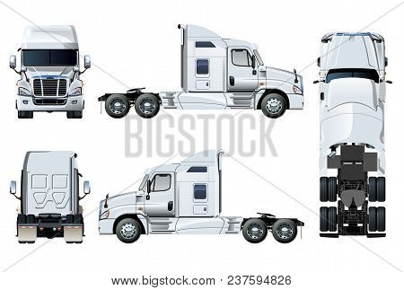 Vector Semi-truck Template Isolated On White. Side, Front, Back, Top View. Eps-10 Separated By Group