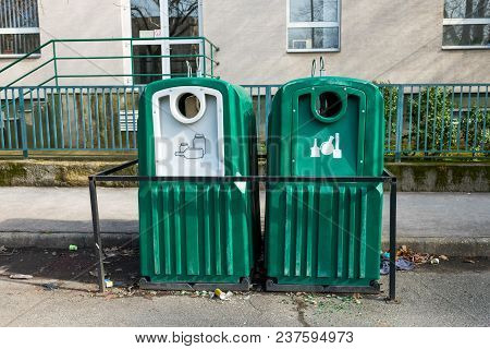 Garbage Containers For The Collection Of Separate Debris Of Glass And Plastic