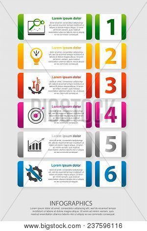 Modern Vector Illustration 3D. An Infographic Template With Five Steps And An Image Of Six Rectangle