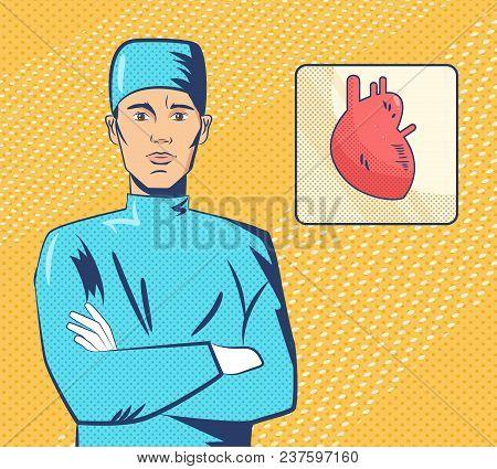 Cardiologist Pop Art. Vector. Cartoon Isolated Art