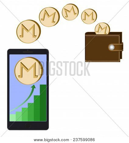 Transfer Monero Coins From Phone In The Wallet On A White Background,growth Diagram With Coin Of Mon