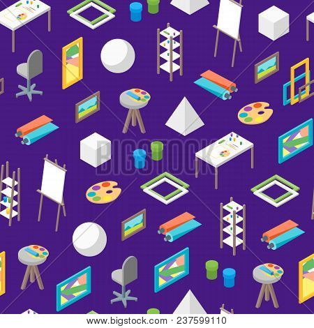 Artist Workplace Iseamless Pattern Background Isometric View Professional Community, Studio Or Cowor