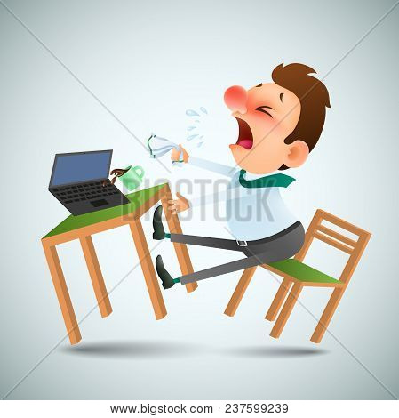 Funny Cartoon Man Is Sick And Sneezes In The Workplace. Office Furniture, Laptop And Mug With Drink