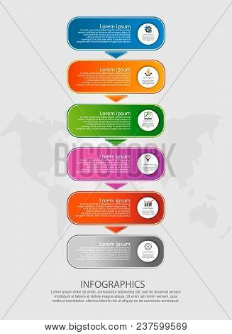 Modern Vector Illustration. Infographic Template With Six Elements, Arrows Of The Rectangle. Step By