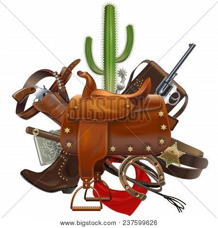 Vector Cowboy Concept With Saddle Isolated On White Background
