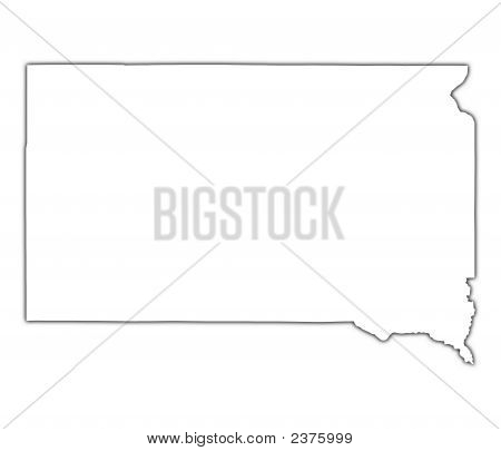 South Dakota (Usa) Outline Map With Shadow