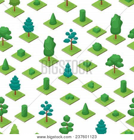 Green Trees And Shrubs Public Park Or Square Seamless Pattern Background On A White 3d Isometric Vie