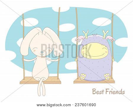 Hand Drawn Vector Illustration Of A Cute Smiling Monster And Bunny Rabbit, On A Swing, With Blue Sky