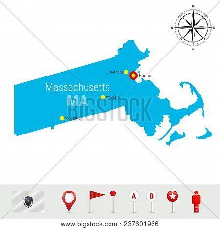 Massachusetts Vector Map Isolated On White Background. Detailed Silhouette Of Massachusetts. Vector