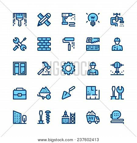Construction, Repair Tools Line Icons Set. Modern Graphic Design Concepts, Simple Symbols, Pictogram