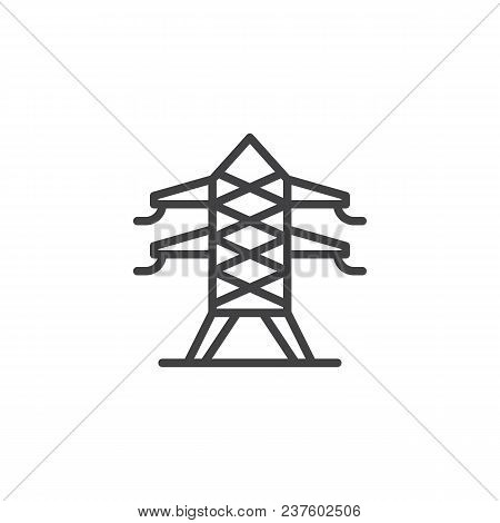 Electric Tower Outline Icon. Linear Style Sign For Mobile Concept And Web Design. Electricity Transm