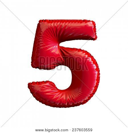 Number 5 (five) of red balloons on a white background. 3d rendering