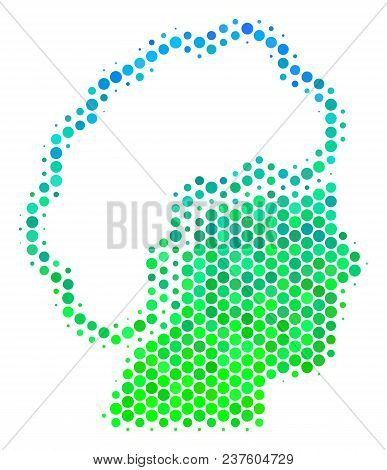 Halftone Round Spot Blonde Profile Icon. Icon In Green And Blue Color Tones On A White Background. V