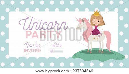Princess unicorn invitation card vector photo bigstock princess with unicorn invitation card vector illustration design stopboris Image collections