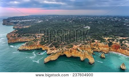 Aerial. Mountains And Arches In The Shape Of A Heart On The Beach Marinha