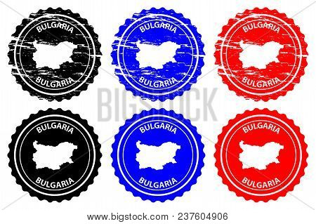 Bulgaria - Rubber Stamp - Vector, Bulgaria Map Pattern - Sticker - Black, Blue And Red