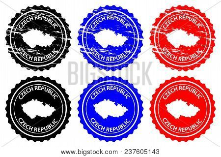 Czech Republic - Rubber Stamp - Vector, Czechia Map Pattern - Sticker - Black, Blue And Red