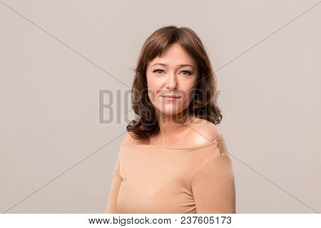 Beautiful Elegant Woman. Luxury Photo. Mid Age Woman Over 35 Years Old Beauty Concept.