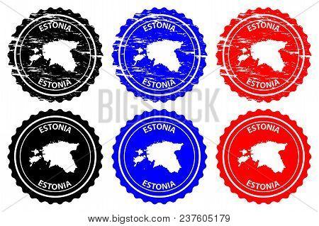 Estonia - Rubber Stamp - Vector, Estonia Map Pattern - Sticker - Black, Blue And Red