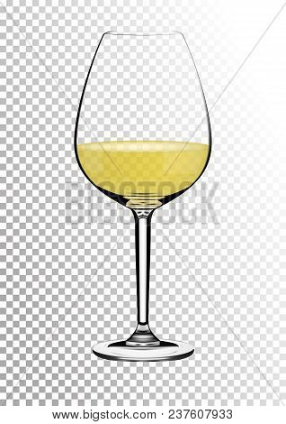Transparent Realistic Wineglass Full Of White Wine With Bright Saturated Straw Colored Amber. Vector
