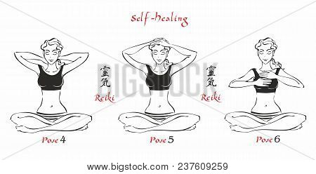 Self-healing.   The Energy Of Reiki. Poses Hands For Healing. The Set Of Files. File 2. 3 Positions.