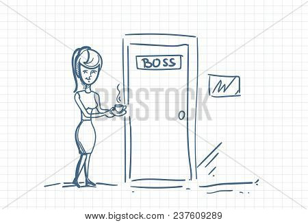 Business Woman Secretary Bring Coffee To Boss Office Doodle Over Squared Background Vector Illustrat