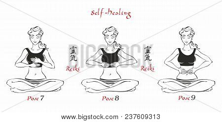 Self-healing.   The Energy Of Reiki. Poses Hands For Healing. The Set Of Files. File 3. 3 Positions.