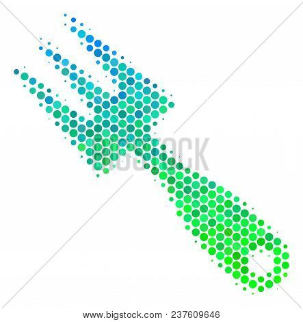 Halftone Dot Cultivator Rake Pictogram. Pictogram In Green And Blue Color Tones On A White Backgroun