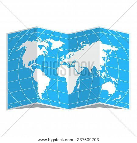 White World Map On A Blue Background. Flat Vector Cartoon Illustration. Objects Isolated On White Ba