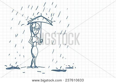 Upset Business Woman Wet Under Rain With Umbrella Doodle Over Squared Paper Background Vector Illust