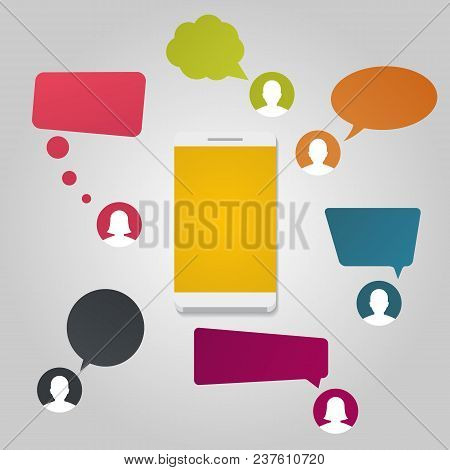 Contacts With Chat Message Notifications. Smartphone And Speech Bubbles. Conversation Concept.