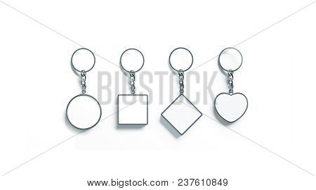 Blank Silver Key Chain Mock Up Top View Set, 3d Rendering. Clear Silvery Circular Square Rhombus Hea