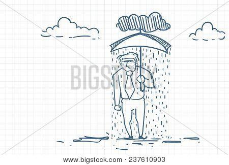 Desperate Businessman Under Rain Holding Umbrella Doodle Over Squared Paper Background Vector Illust