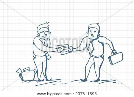 Business Man Doodle Giving Another Businessman Document Or Contract Over Squared Background Vector I