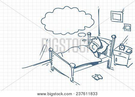 Sketch Man Sleeping Dream In Bed Doodle Over Squared Background Vector Illustration