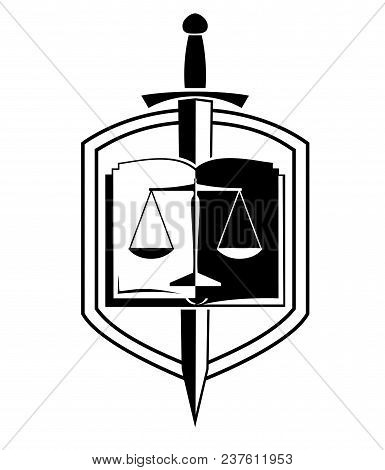 Law Firm Logo Shield, Balance, Sword And Open Book  Vector Illustration
