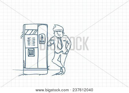 Sketch Business Man Drinking Coffee Standing At Vending Machine Doodle Over Squared Paper Background