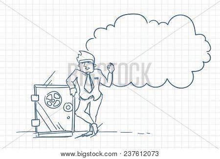 Sketch Business Man Standing At Safe Vault Bank Doodle Over Squared Paper Background Vector Illustra