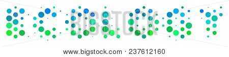 Halftone Round Spot Ecology Text Pictogram. Icon In Green And Blue Color Hues On A White Background.