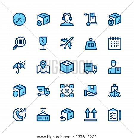 Delivery, Logistics Line Icons Set. Modern Graphic Design Concepts, Simple Symbols, Elements, Pictog
