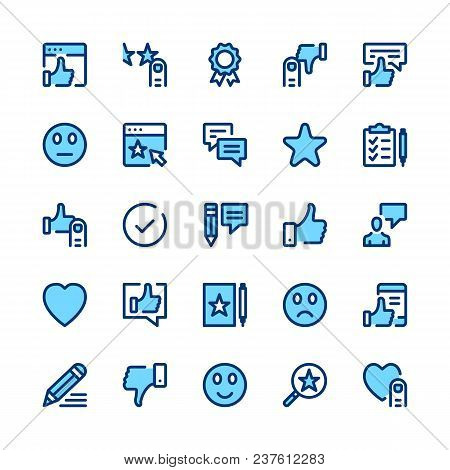 Feedback, Recommendation, Testimonials, Customer Review Line Icons Set. Modern Graphic Design Concep